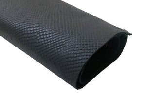 Stonestreet leather matte black snake print embossed leather. Sold by the square foot.