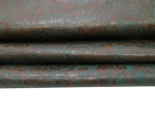 Load image into Gallery viewer, Brown and teal western floral embossed cowhide leather sheet sold by the square foot.