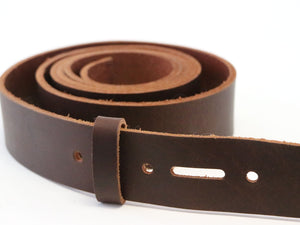 Matte Brown West Tan Buffalo Leather Belt Blank With Keeper