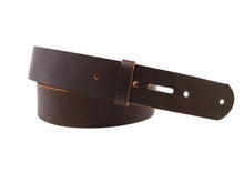 Load image into Gallery viewer, Matte Brown West Tan Buffalo Leather Belt Blank With Keeper