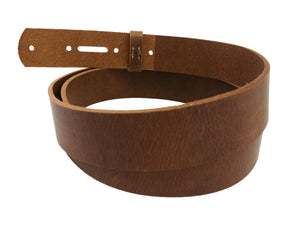 Matte Peanut West Tan Buffalo Leather Belt Blank With Keeper