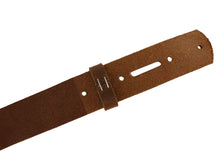 Load image into Gallery viewer, Matte Peanut West Tan Buffalo Leather Belt Blank With Keeper