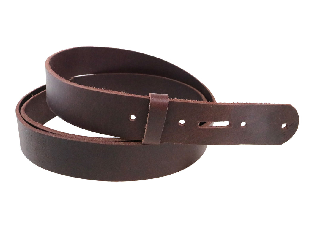 Matte Burgundy West Tan Buffalo Leather Belt Blank With Keeper