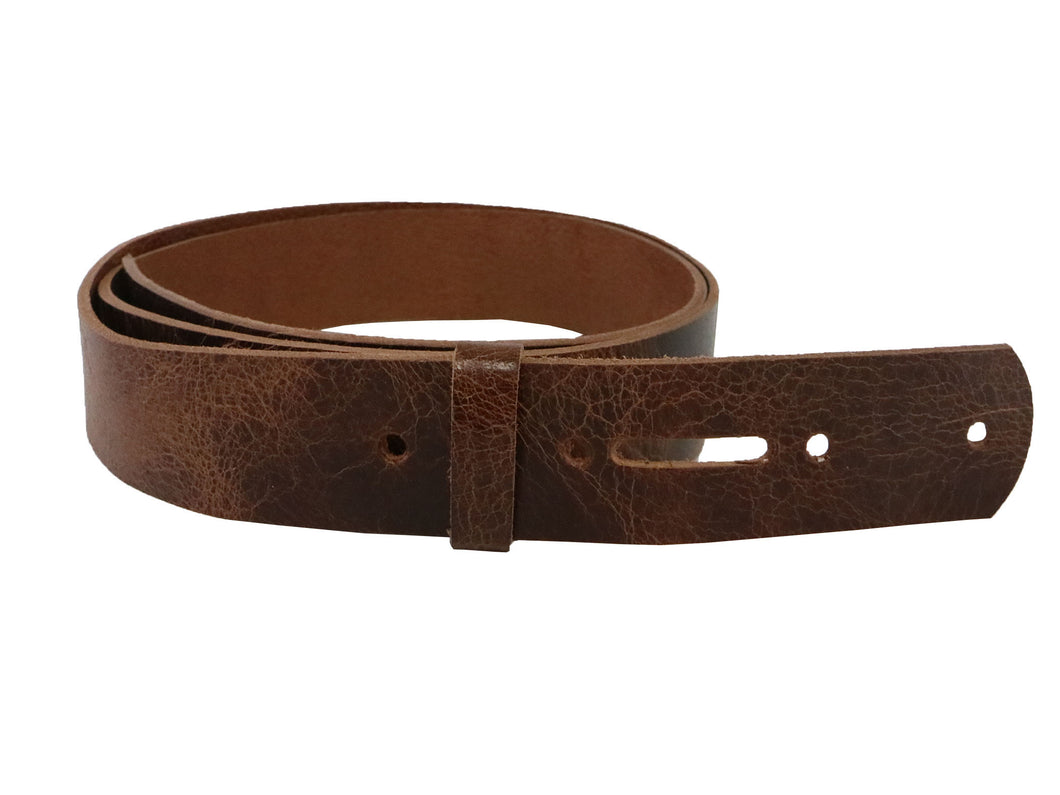 Tan Vintage Glazed Buffalo Leather Belt Blank With Keeper