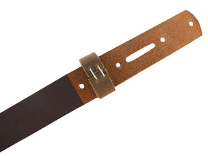Stonestreet Leather Brown Crazy horse buffalo leather strip with matching keeper. Skived down on the back end to the last punched hole