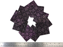 "Load image into Gallery viewer, Set of 10 Embossed Leather Pieces 3""x3"", Color Changing Purple and Green Print on Black Suede Leather"