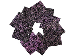 "Set of 10 Embossed Leather Pieces 3""x3"", Color Changing Purple and Green Print on Black Suede Leather"