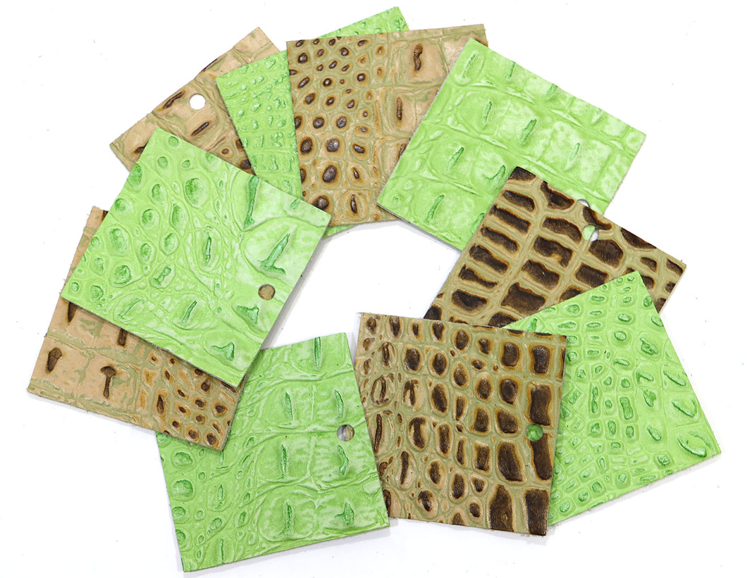 Set of 10 Gator Embossed Leather Pieces 3