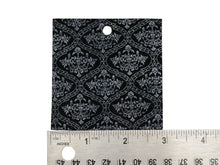 "Load image into Gallery viewer, Set of 10 Embossed Leather Pieces 3""x3"", Ornate Silver Print on Black Suede Leather"