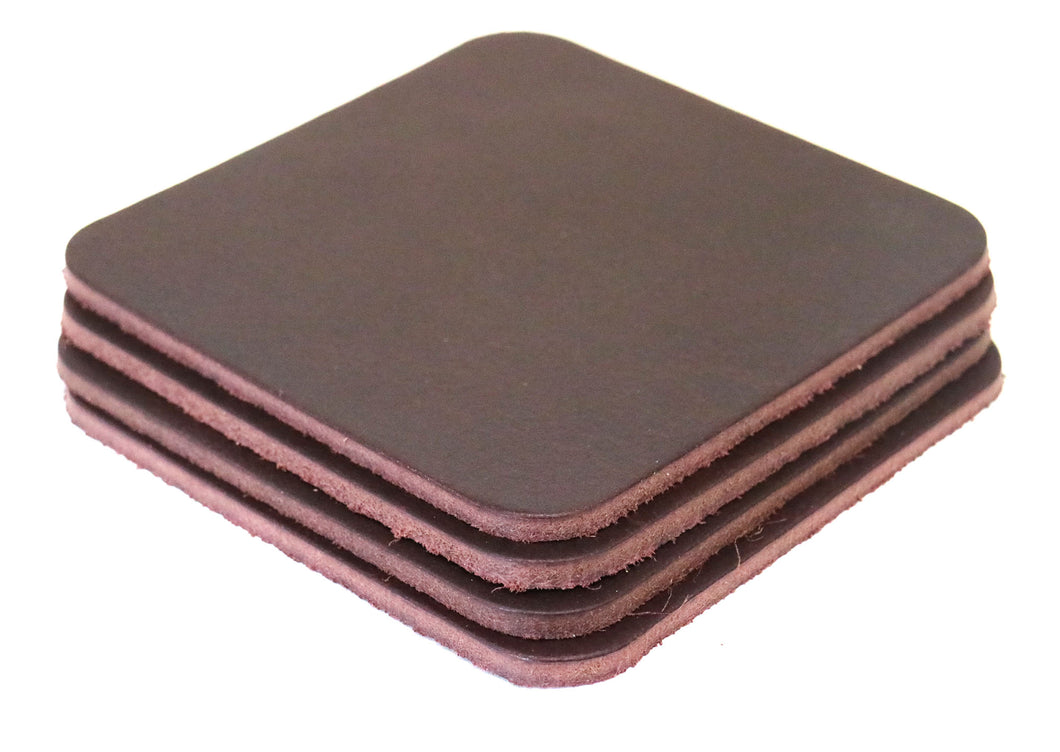 Burgundy Brown West Tan Water Buffalo Leather, Square Coaster Shapes, 4