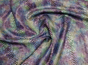 Purple and Turquoise Mystic Python Embossed Snake Print Precut