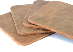 "Brown Crazy Horse Water Buffalo Leather Square Coaster Shapes, 4""x4"""