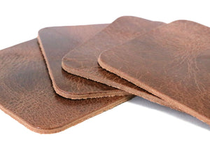 "Tan Vintage Glazed Square Water Buffalo Leather, Square Coaster Shapes, 4""x4"""