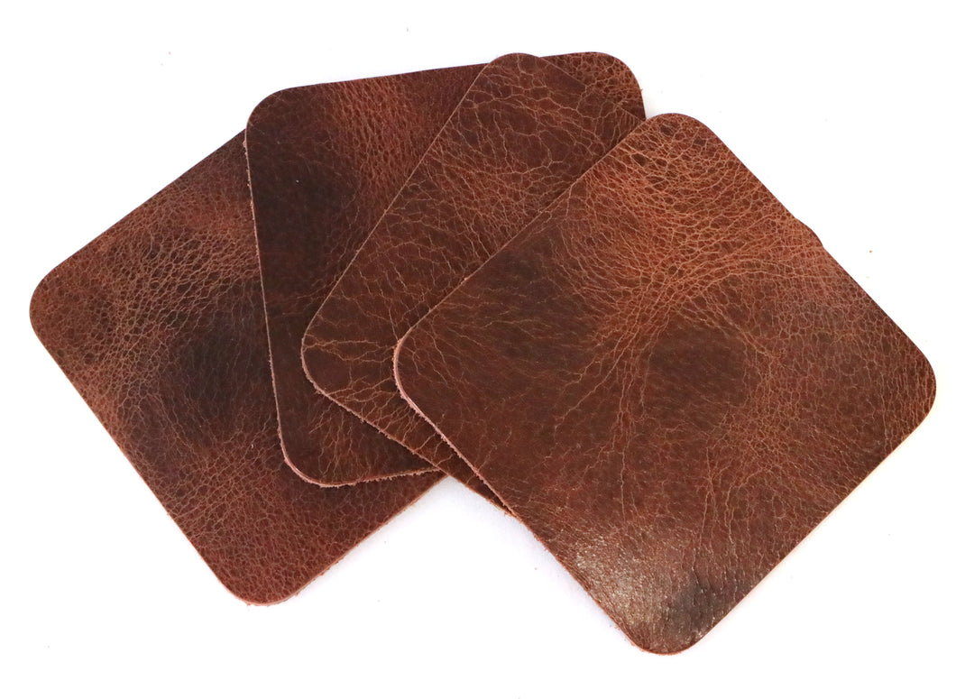 Tan Vintage Glazed Square Water Buffalo Leather, Square Coaster Shapes, 4