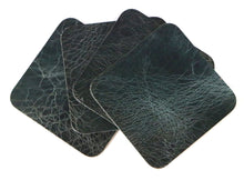 "Load image into Gallery viewer, Denim Vintage Glazed Water Buffalo Leather, Square Coaster Shapes, 4""x4"""