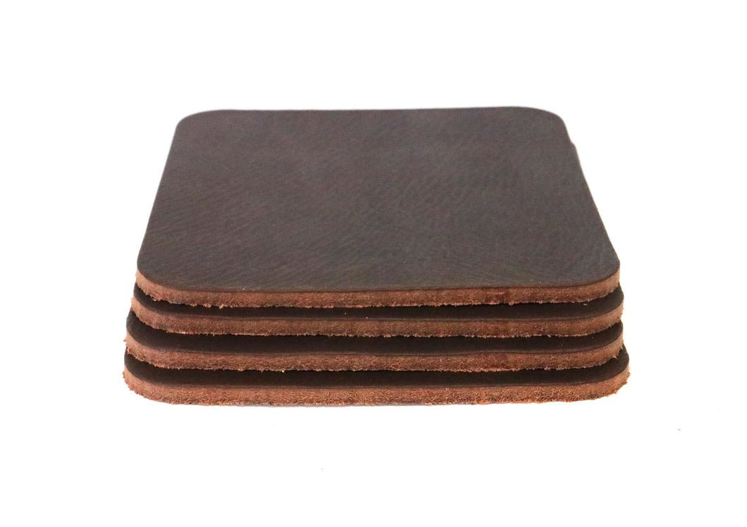 Matte Brown West Tan Water Buffalo Leather, Square Coaster Shapes, 4