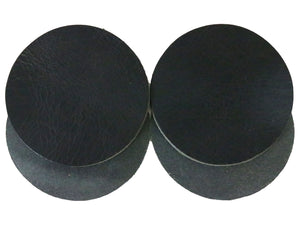 "Black Vintage Glazed Water Buffalo Leather Round Coaster Shapes, 4""x4"""