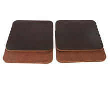 "Load image into Gallery viewer, Matte Brown West Tan Water Buffalo Leather, Square Coaster Shapes, 4""x4"""