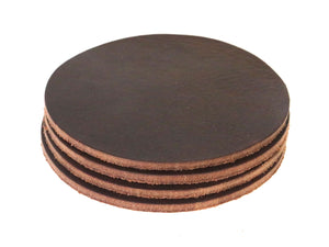 "Matte Brown West Tan Water Buffalo Leather, Round Coaster Shapes, 4""x4"""