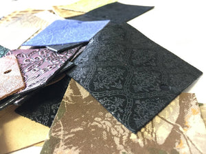 Stonestreet leather 50 pack of square embossed leather pieces. Assorted colors and textures of printed and embossed leather for earring making