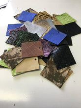 Load image into Gallery viewer, Stonestreet leather 50 pack of square embossed leather pieces. Assorted colors and textures of printed and embossed leather for earring making