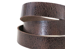 "Load image into Gallery viewer, Vintage Glazed Chocolate Brown Buffalo Leather Strip, 48""- 60"" in Length, Chocolate Brown"