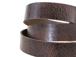 "Vintage Glazed Chocolate Brown Buffalo Leather Strip, 48""- 60"" in Length, Chocolate Brown"