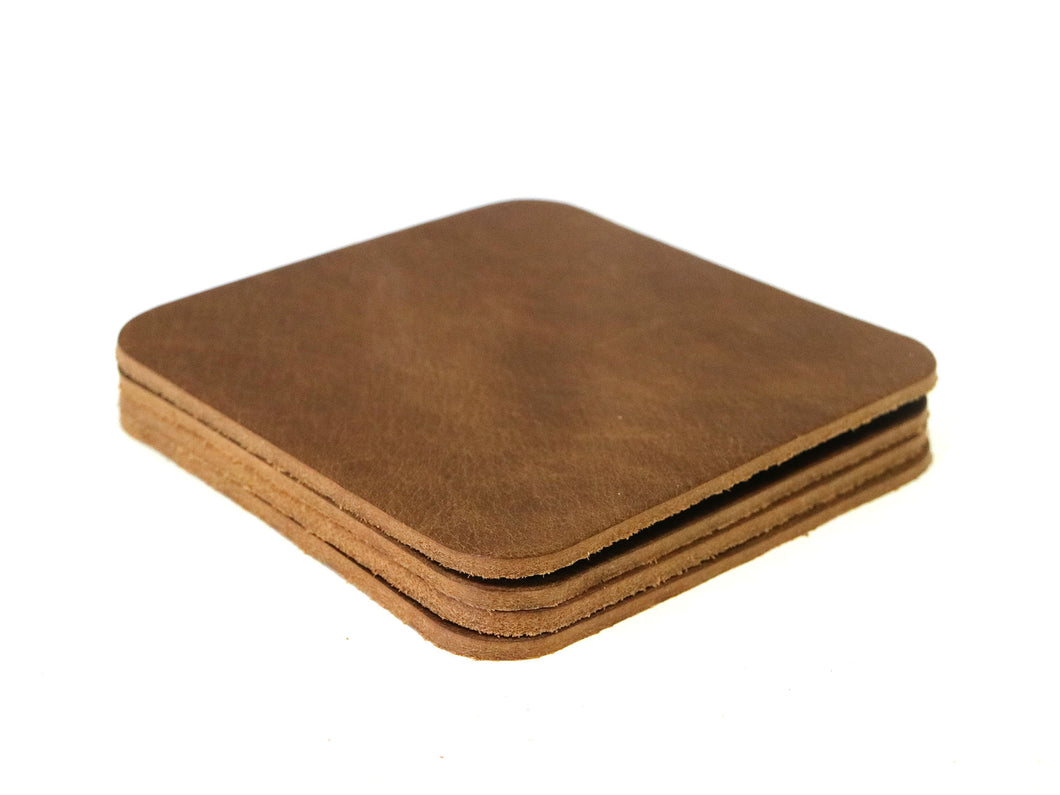Peanut (Light Brown) West Tan Water Buffalo Leather, Square Coaster Shapes, 4