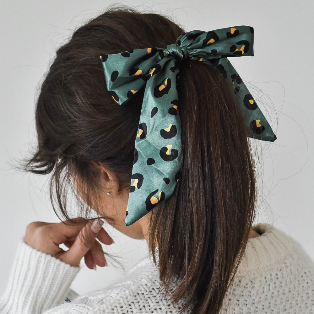 Khaki Leopard Satin Bow Scrunchie by Coconut Lane