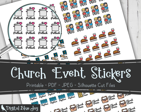 Church Event Printable Stickers