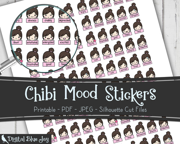 Chibi Mood Tracker Printable Stickers