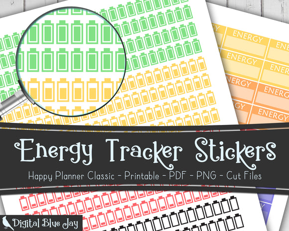 Energy Tracker Printable Stickers