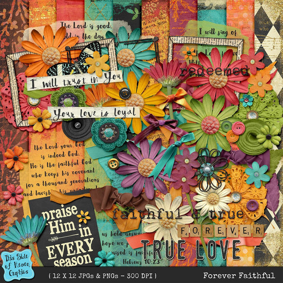 Forever Faithful Digital Scrapbooking Kit - Papers & Elements