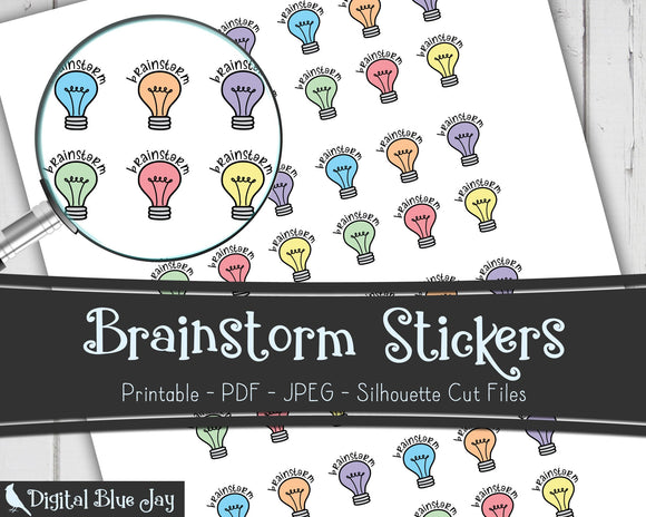 Brainstorm Writer Printable Planner Stickers