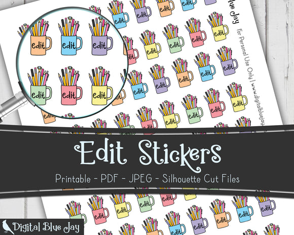 Edit Writer Printable Planner Stickers