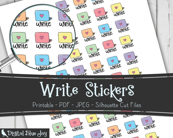 Write Writer Printable Planner Stickers