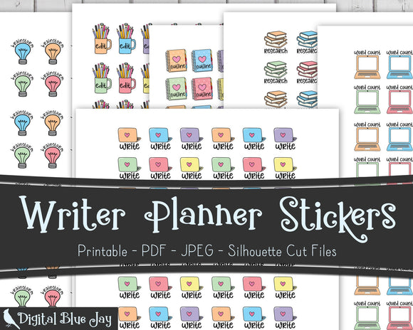 Writer Printable Planner Stickers Discount Bundle