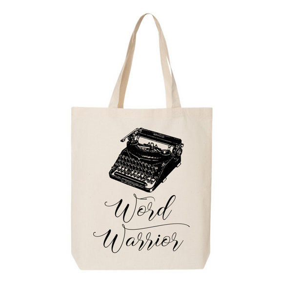 Word Warrior Typewriter Canvas Tote Bag
