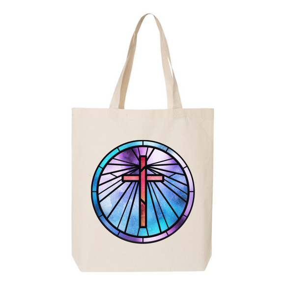 Stained Glass Cross Canvas Tote Bag