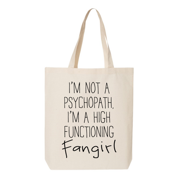 High Functioning Fangirl Canvas Tote Bag