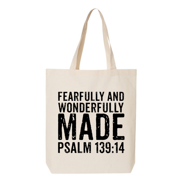 Fearfully and Wonderfully Made Canvas Tote