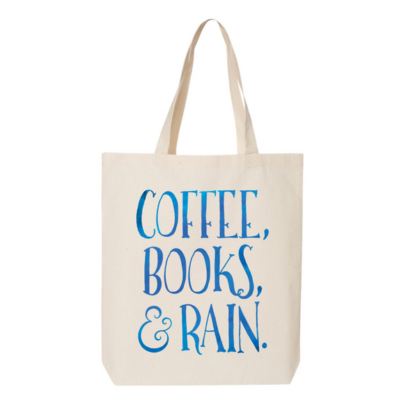 Coffee, Books. & Rain Canvas Tote Bag