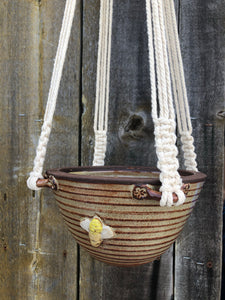 Macrame Hanging Planter - Whimsical Bee Skep