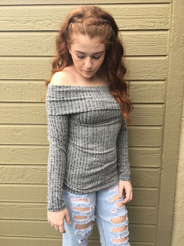 Cozy Off The Shoulder Longsleeve Top