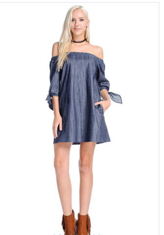 Cute Demi off shoulder dress with side pockets