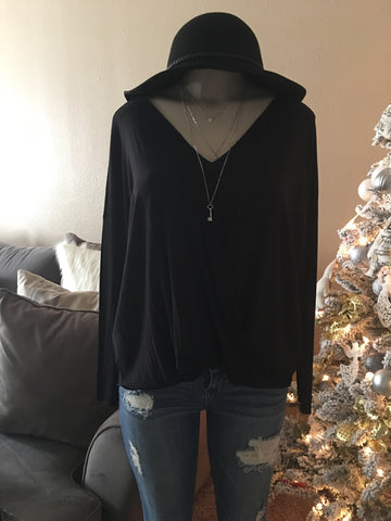 Black Draped Causal, Comfy Top
