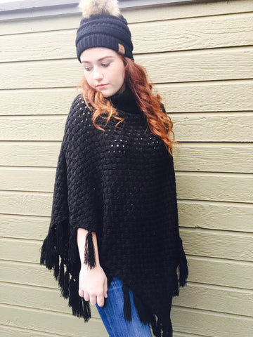 Black turtleneck poncho (sold out)