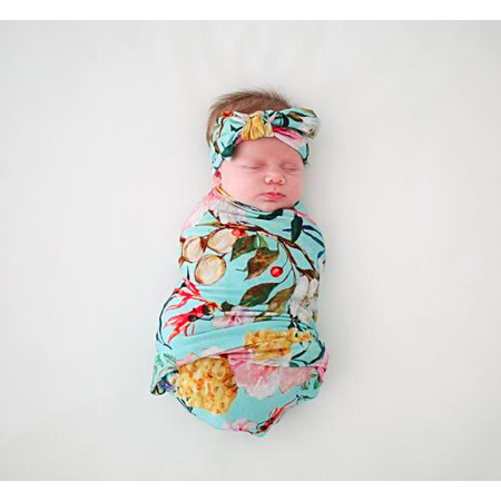 Swaddle & Infant Headwrap Set - Tuscan Teal