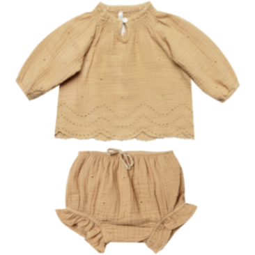 Quincy Eyelet Blouse & Bloomer Set - Honey