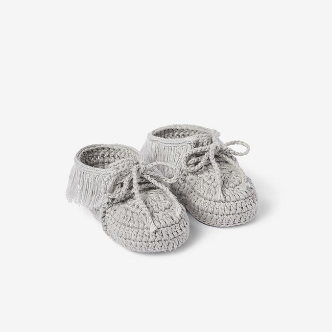 Moccassin Hand Crocheted Baby Booties - Gray